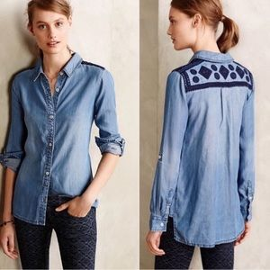 Anthropologie Holding Horses Chambray Shirt SZ XS